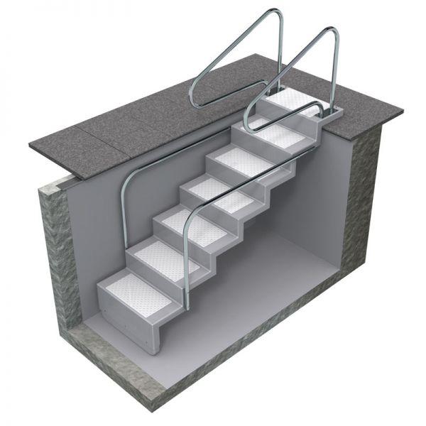 Haltegriff Griffbogen Edelstahl V2A zur Montage an der Treppe