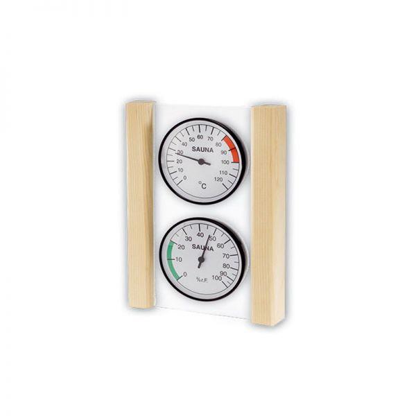 Sauna Thermometer und Hygrometer mit Holzrahmen
