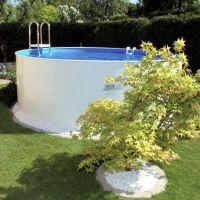 Stahlwand Rundpool Set 5,00 x 1,20 m 0,8 mm blau aufgestellt