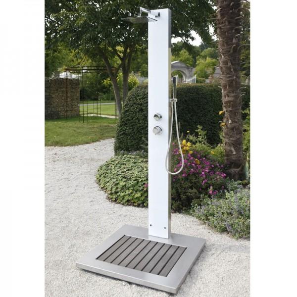 Ideal Gartendusche Tobago Edelstahl V2A inkl. WPC Bodenplatte
