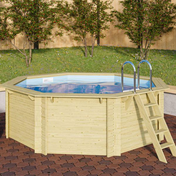 Trend Holzpool Set Achteck 4,70 x 4,70 x 1,24 m