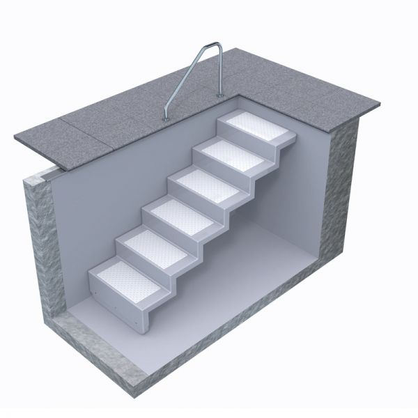 Universal Pooltreppe Eleganz 80 U kurz 6 Stufen